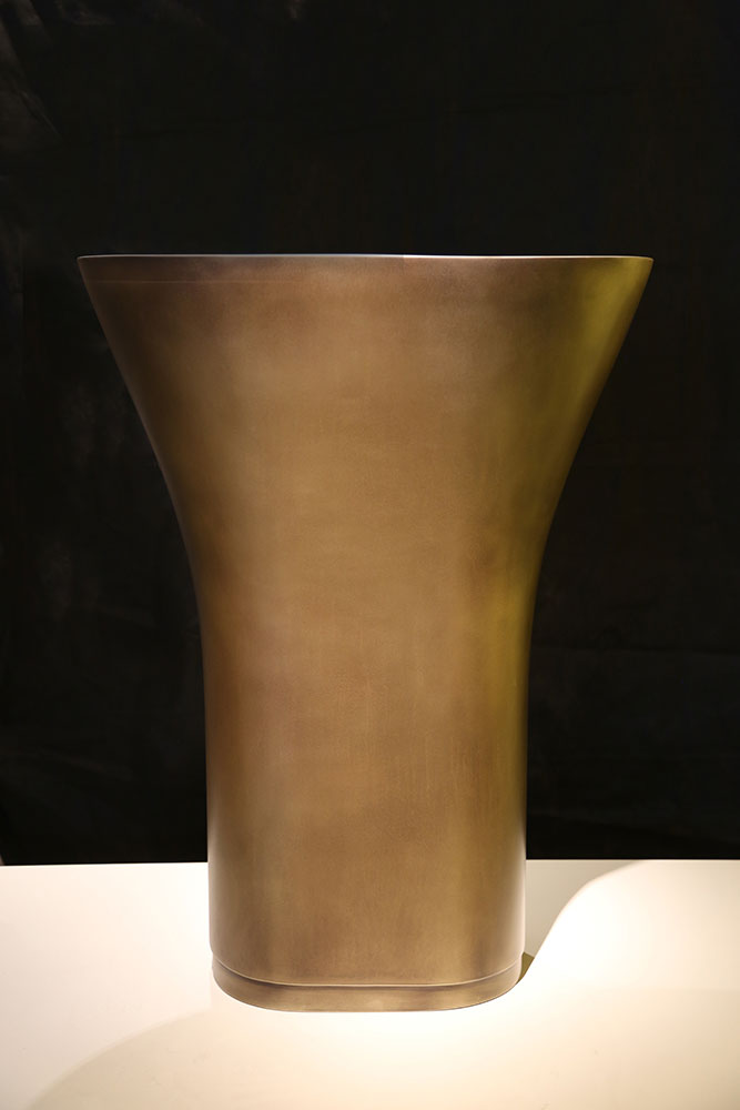Solid Surface Pedestal Basin | Brass Pseudo Smooth Brown Florentine