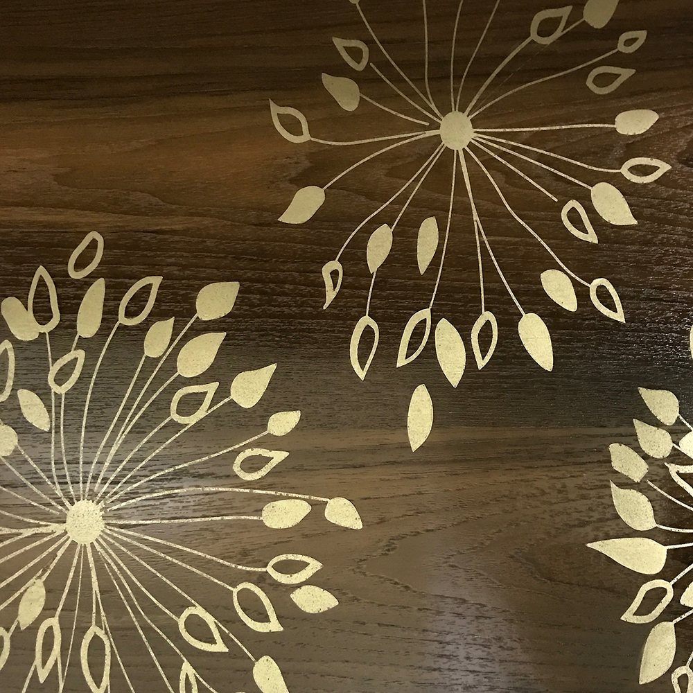 Walnut with Agapanthus Gold Brass Inlay