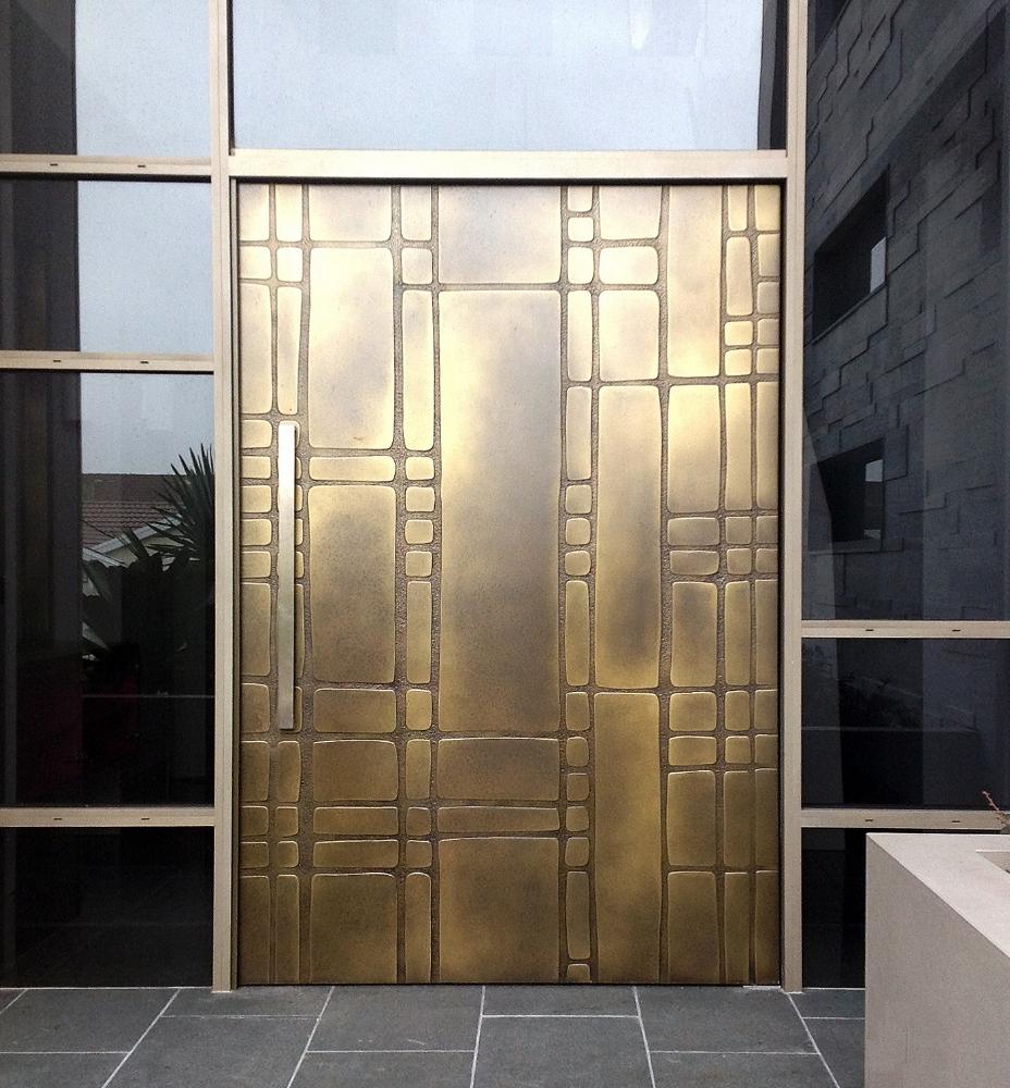 Glavan Carved Brass Brown Florentine Door