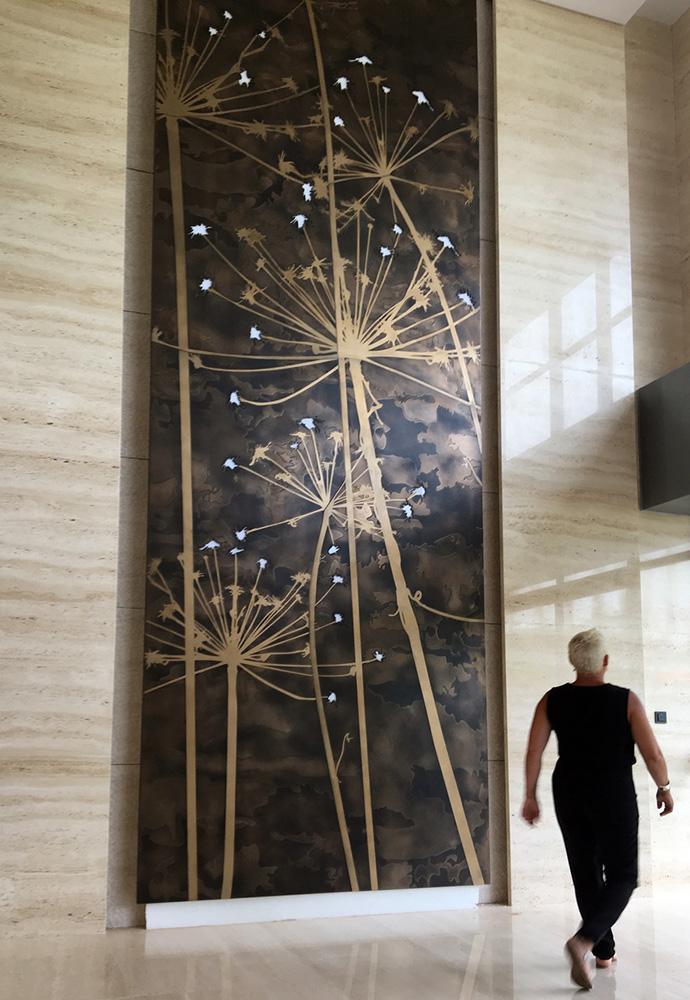 Dandelion Feature Wall | Bronze Lunar Florentine & Gold Bronze