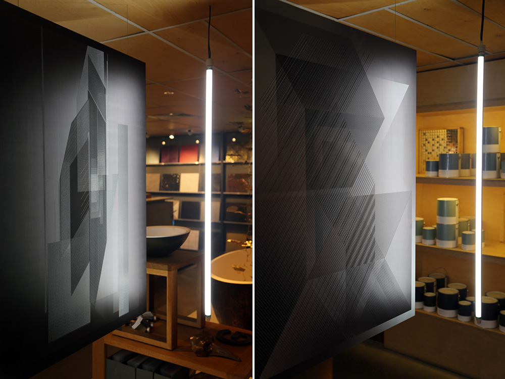 Difference 03 and Difference 01 by Marcus Piper, printed and 3D printed on aluminium at the Axolotl showroom.