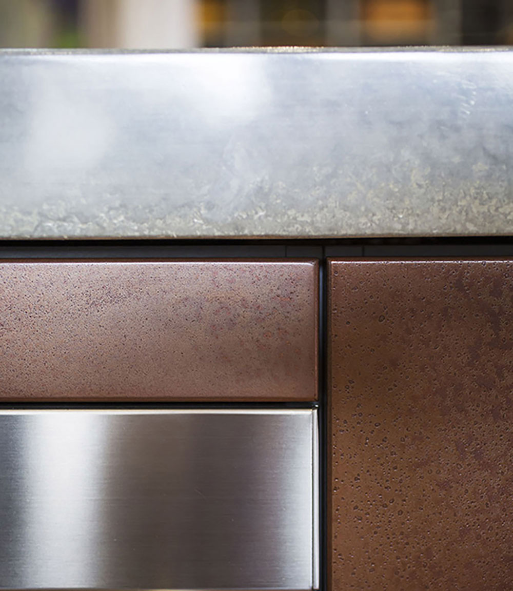 Surface: Copper Lunar Pearl Patina Design and Joinery: Dan Kitchens
