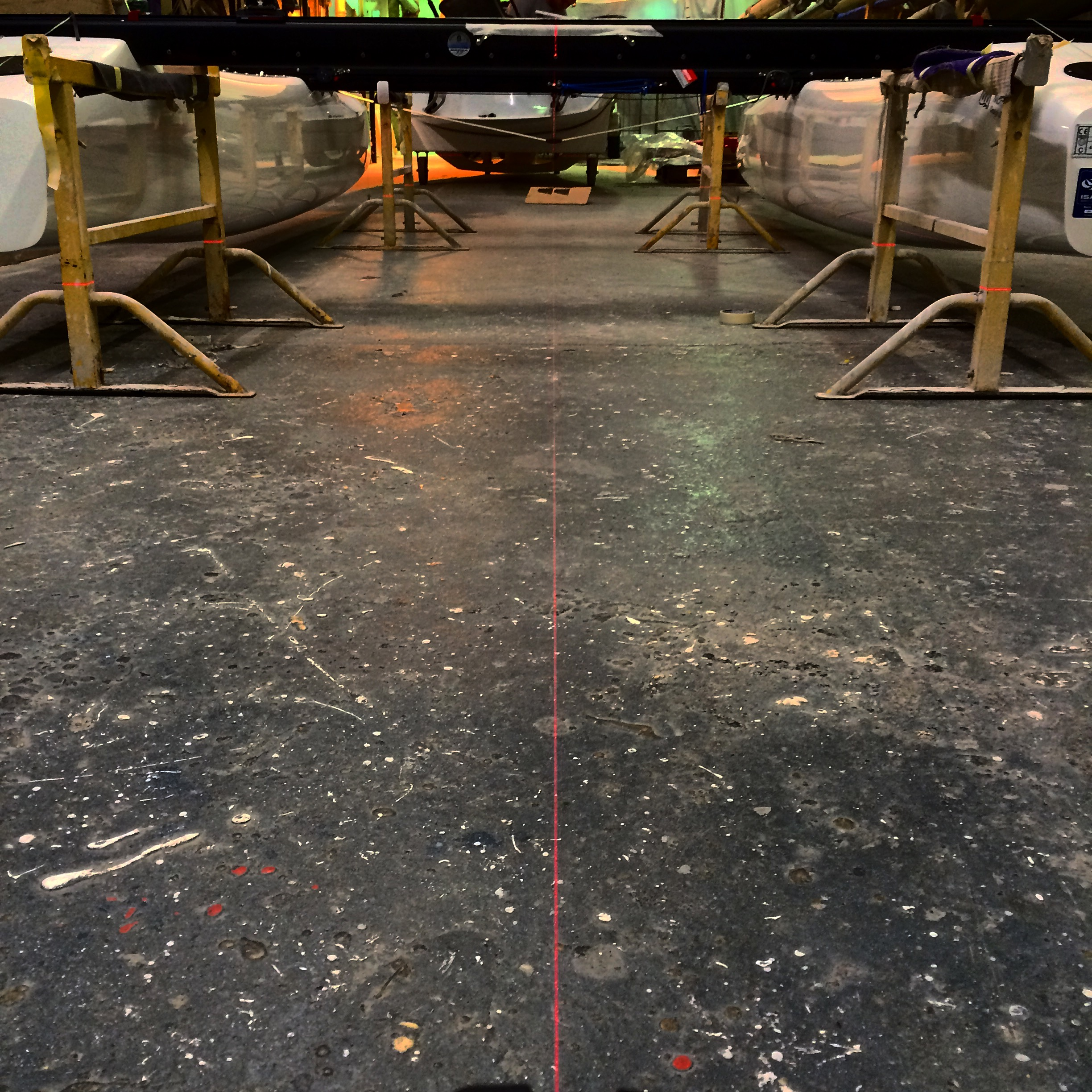 Using lasers to align the new boat
