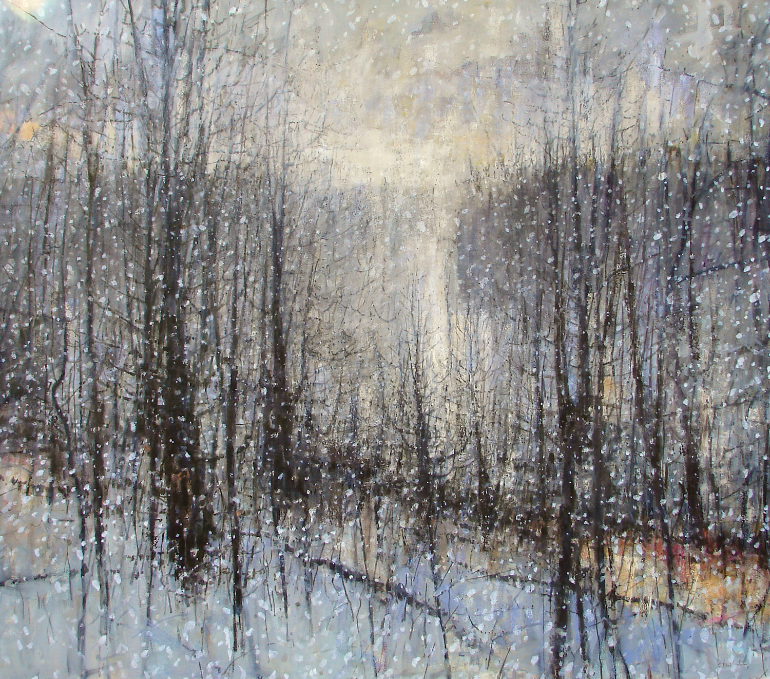 "L  ight Snow , William Chickillo, 48"" x 55"" oil on canvas on wood panel"