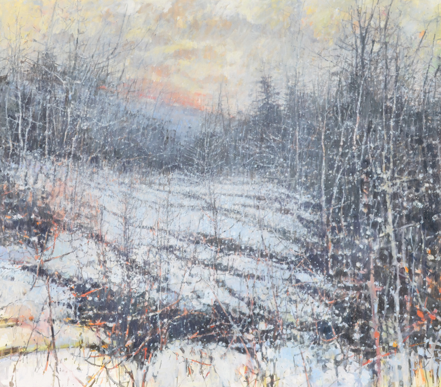 "Winter, South Branch Tunkhannock Creek,  William Chickillo, 48"" x 55"" oil on canvas on board"