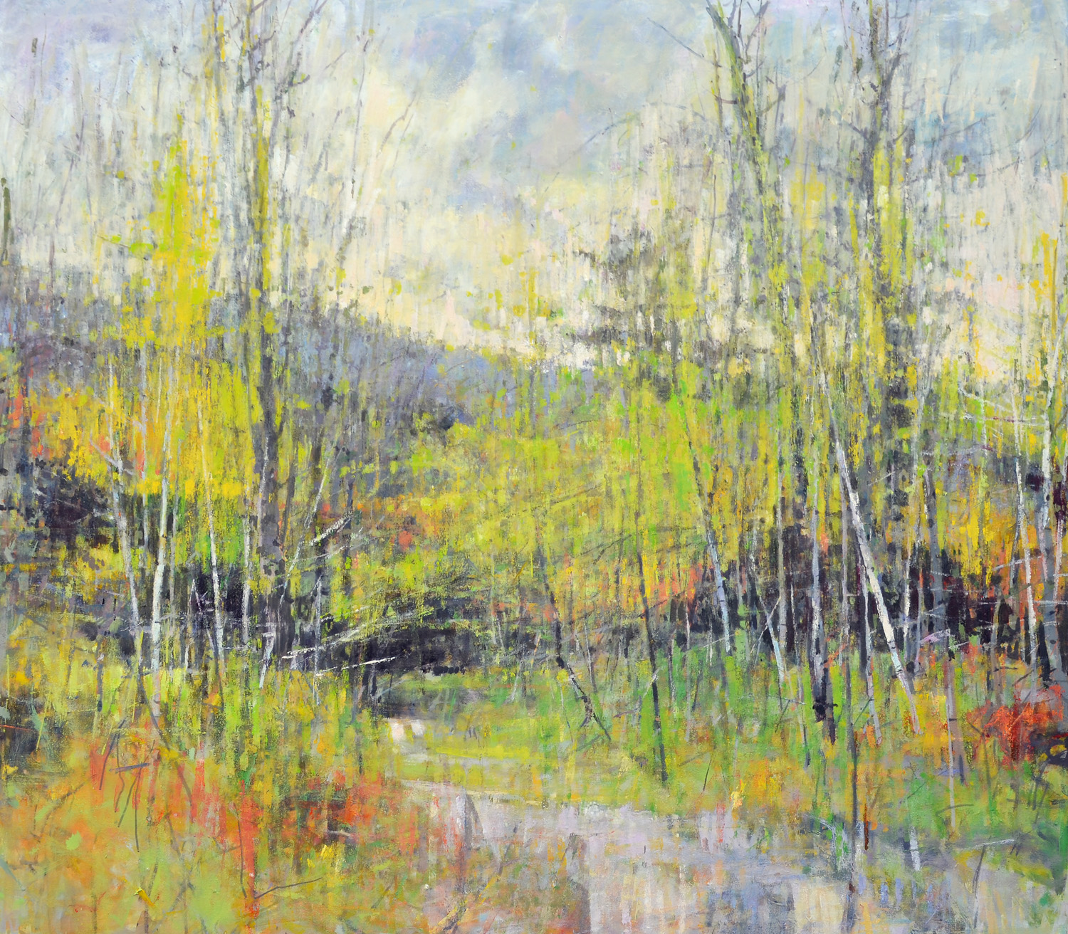"Early Spring off Maggies Road,  William Chickillo, 48"" x 55"" oil on canvas"