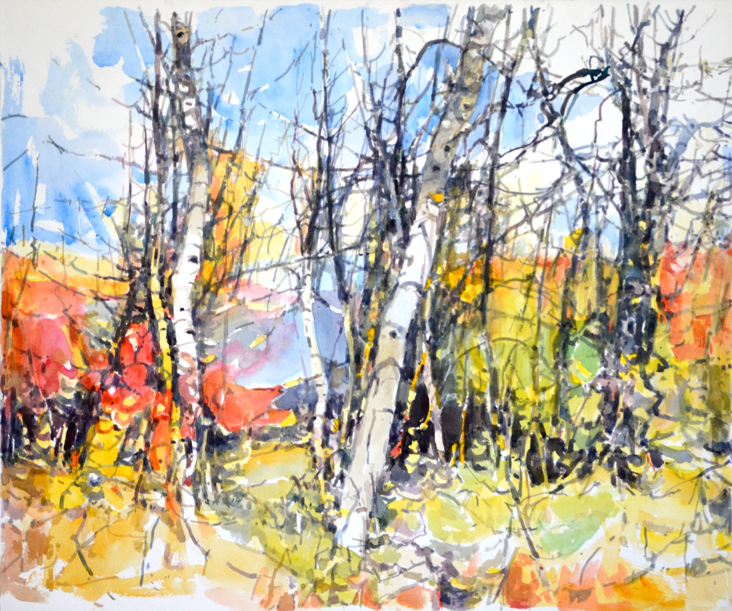 """Road to Lake Kewanee I,  William Chickillo, 22"""" x 27"""" watercolor"""