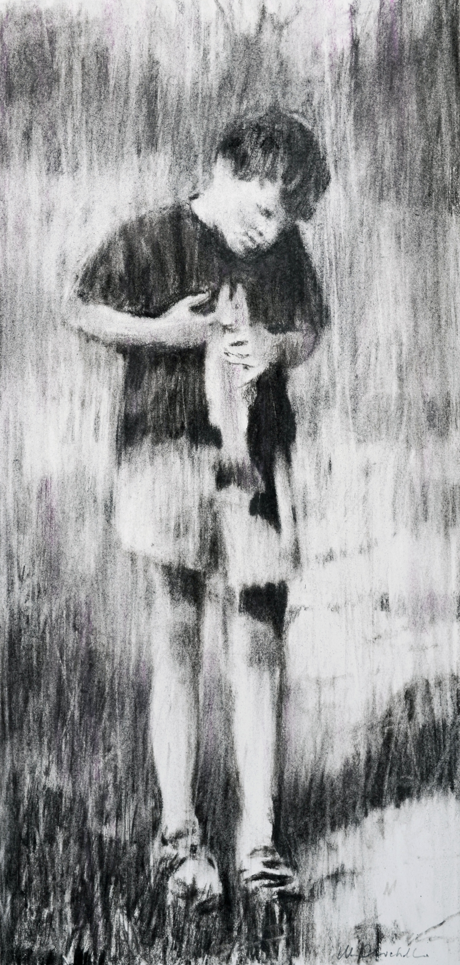 """Boy with Trout,William Chickillo, 11"""" x 22 1/2"""" charcoal drawing"""