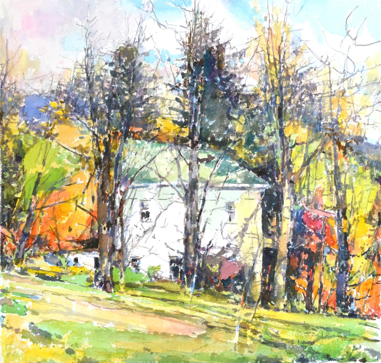 """407 Field near Apple Tree,  William Chickillo, 20"""" x 21"""" watercolor"""