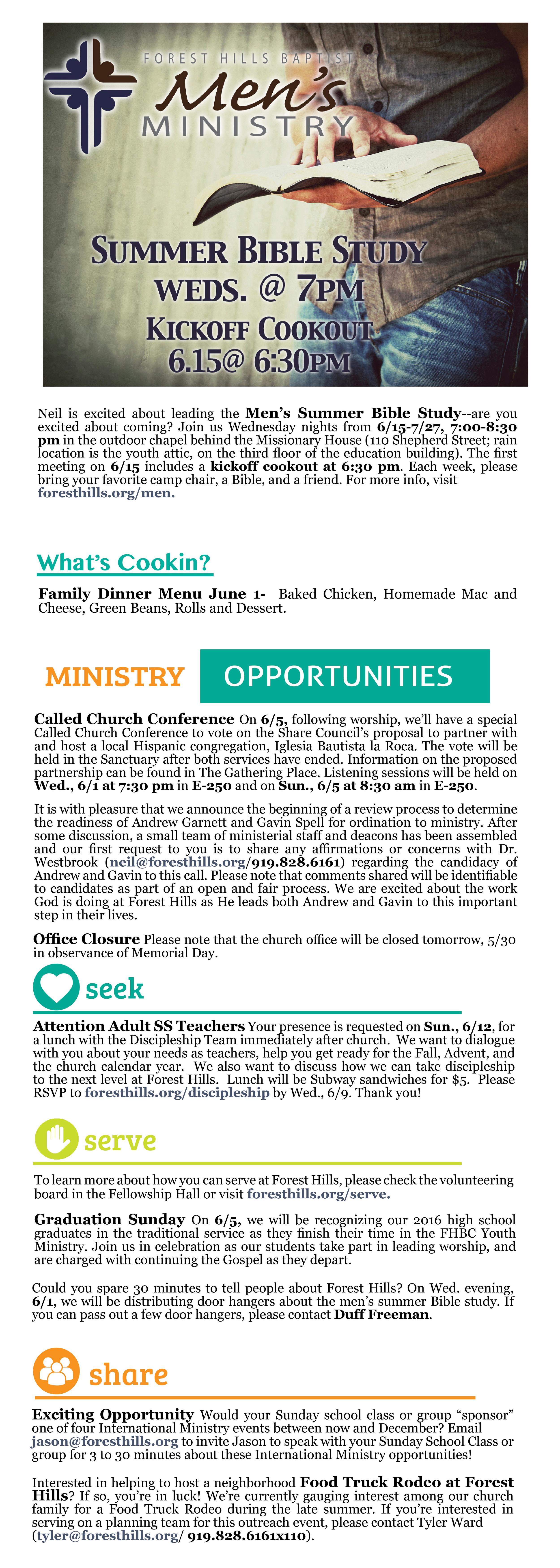 Forest hills baptist church weekly update