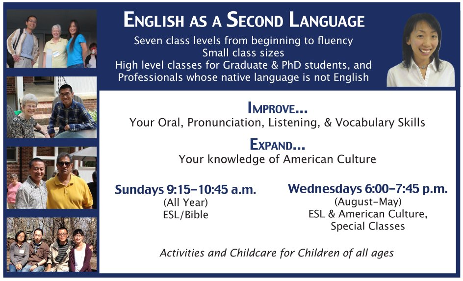 ESL English As A Second Language TESOL Teaching English To Speakers of Other Languages Forest Hills Free English Classes Wednesday English and Culture Class Sunday ESL Bible Class Walking Distance NCSUTOEFL Test of English as a Foreign Language Proficiency Conversational Conversation Local Slang Practice English With Native Speakers Colloquialism Make New American Friends Language Acquisition Refugee English Language Training Visiting Scholar PHD International Student SKEMA OIS Internationals Comprehension Oral Production Glenda Reece Jason Payne Dee Froeber Listen Listening Beach RetreatNC State University Meredith College Peace University Shaw University Saint Augustine's University Graduate Undergraduate Global Chinese African Farsi Persian Spanish Korean Foreign Professional