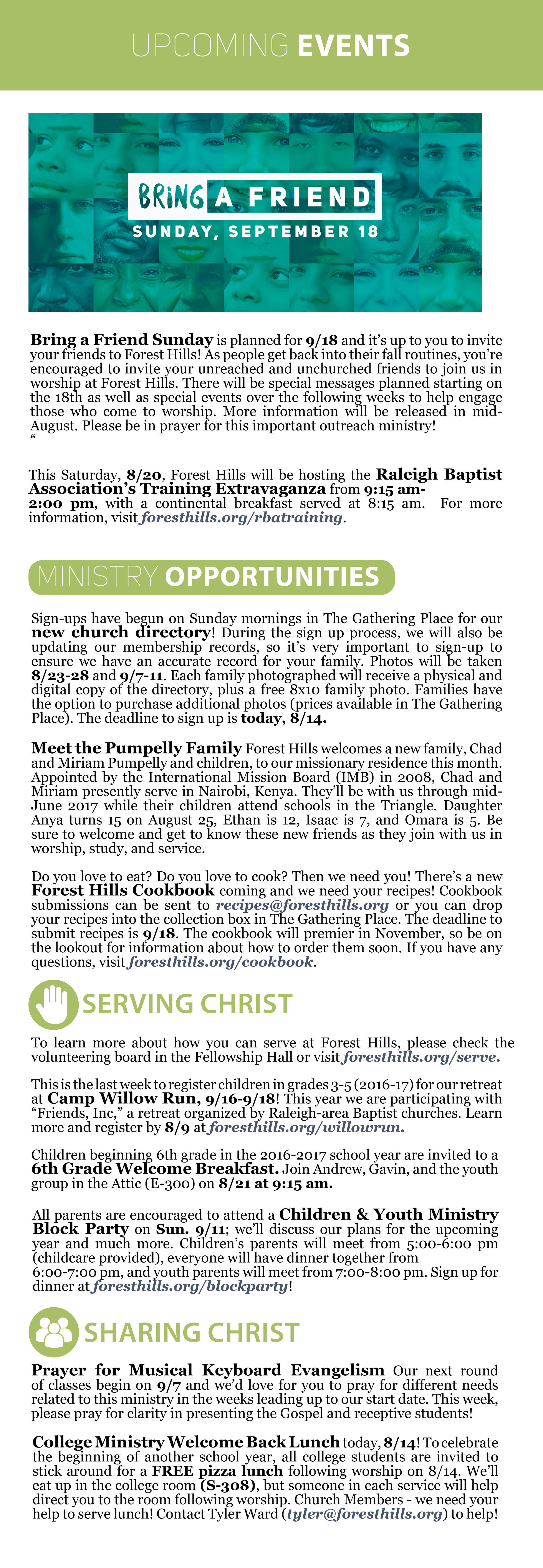 forest hills baptist church raleigh weekly happenings
