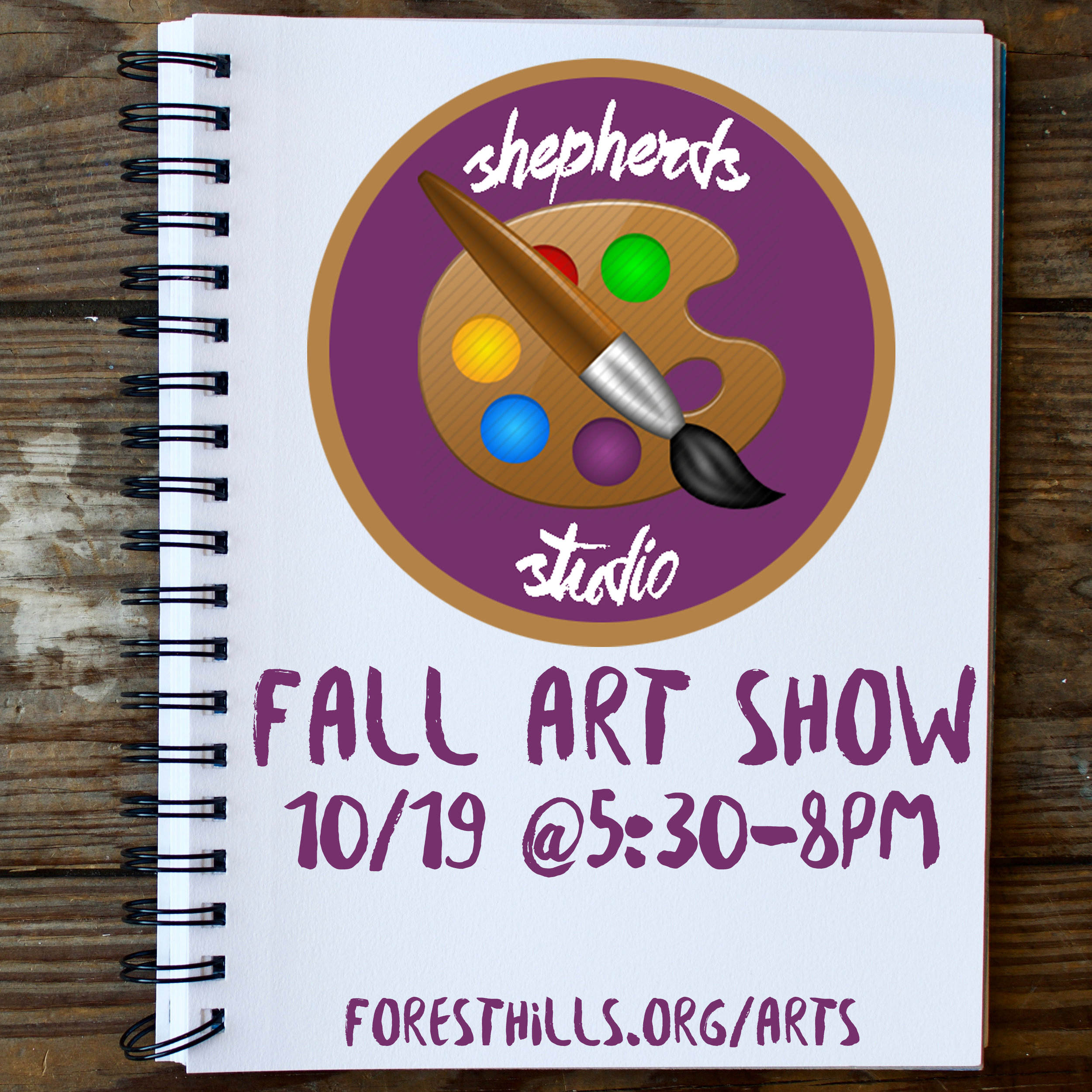The Arts Ministry of Forest Hills is excited to announce its Annual fall Art Show on Wed. 10/19 from 5:30- 8:00 pm at Shepherd's Studio (102 Shepherd St). Come enjoy an evening of art and support this creative ministry!