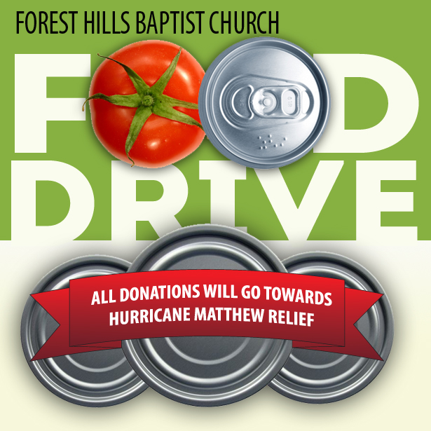 We're collecting canned food to assist those impacted by Hurricane Matthew. Donations can be dropped off in The Gathering Place and Fellowship Hall between 11/27-12/18.