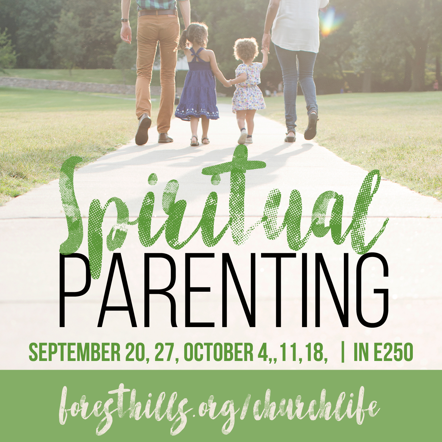 It's hard enough to train kids to behave, but good behavior isn't what Jesus calls for in the Bible. Spiritual Parenting introduces the simple concept that parents depend on God to create an environment God can use to beckon their children to faith The study shares practical examples and biblical insight on the spiritual role of parenting. Dates are 9/20, 27, 10/4,11,18, 25 at 6:30 pm in E-250. The class will be taught by weekly reading, videos during the sessions, and discussion with other participants. RSVP to  andrew@foresthills.org  to reserve your copy of the book.