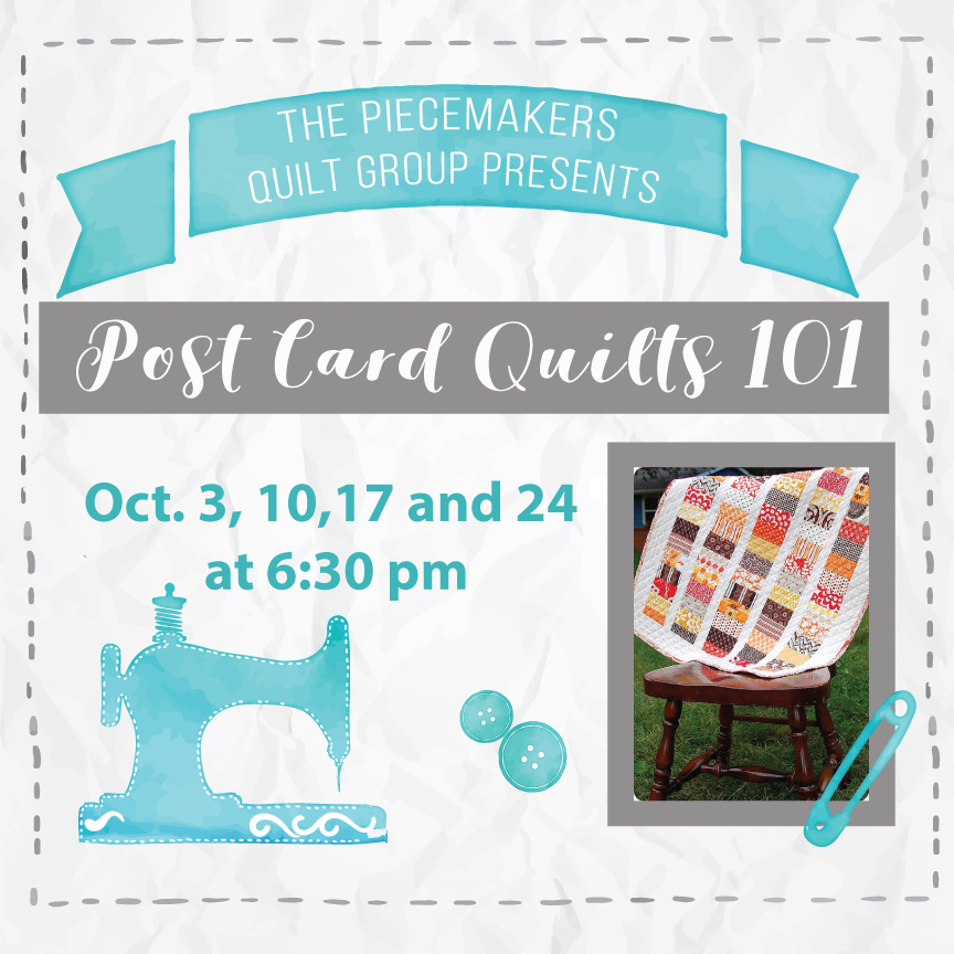 The Arts Ministry of Forest Hills and The Piecemakers Quilt Group at Shepherd's Studio present POSTCARD QUILTS 101. Express your creativity! Learn how to make easy fabric postcard quilts to make and mail to family and friends or keep for yourself! Marianne Donahue will be teaching this fun class. We will meet Oct.3, 10,17 and 24 at 6:30 pm. There is no cost and all materials will be provided. Sign up at the Ministries Fair or at  foresthills.org/churchlife . Limited space available.