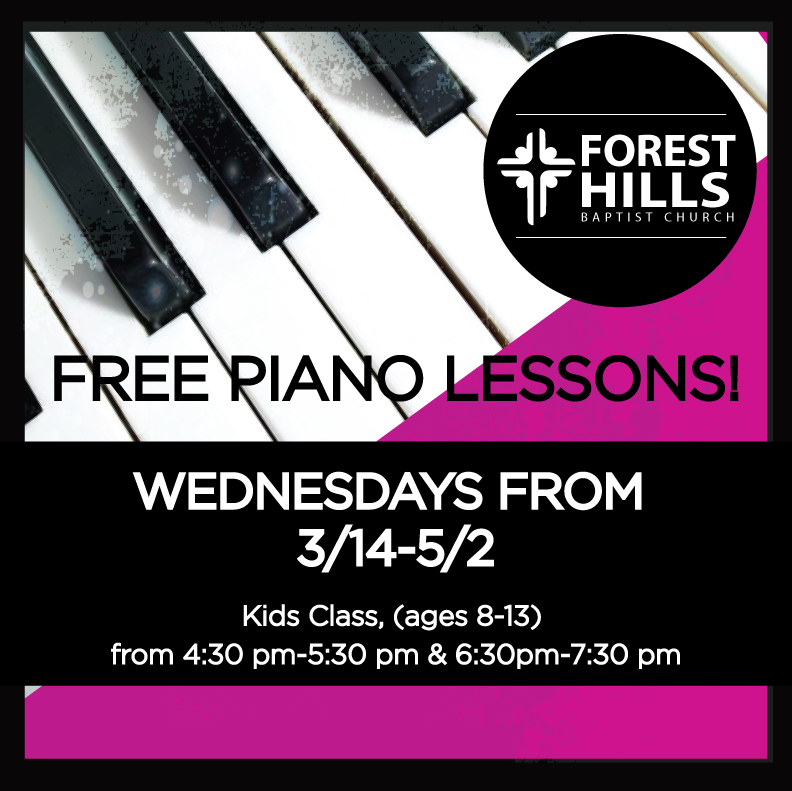 Our next round of FREE piano lessons for kids (ages 8-13) begin on Wed, 3/14. For more information, and to register, please visit  foresthills.org/piano . Even if you're not a kid/parent, we would appreciate your prayers for this ministry!