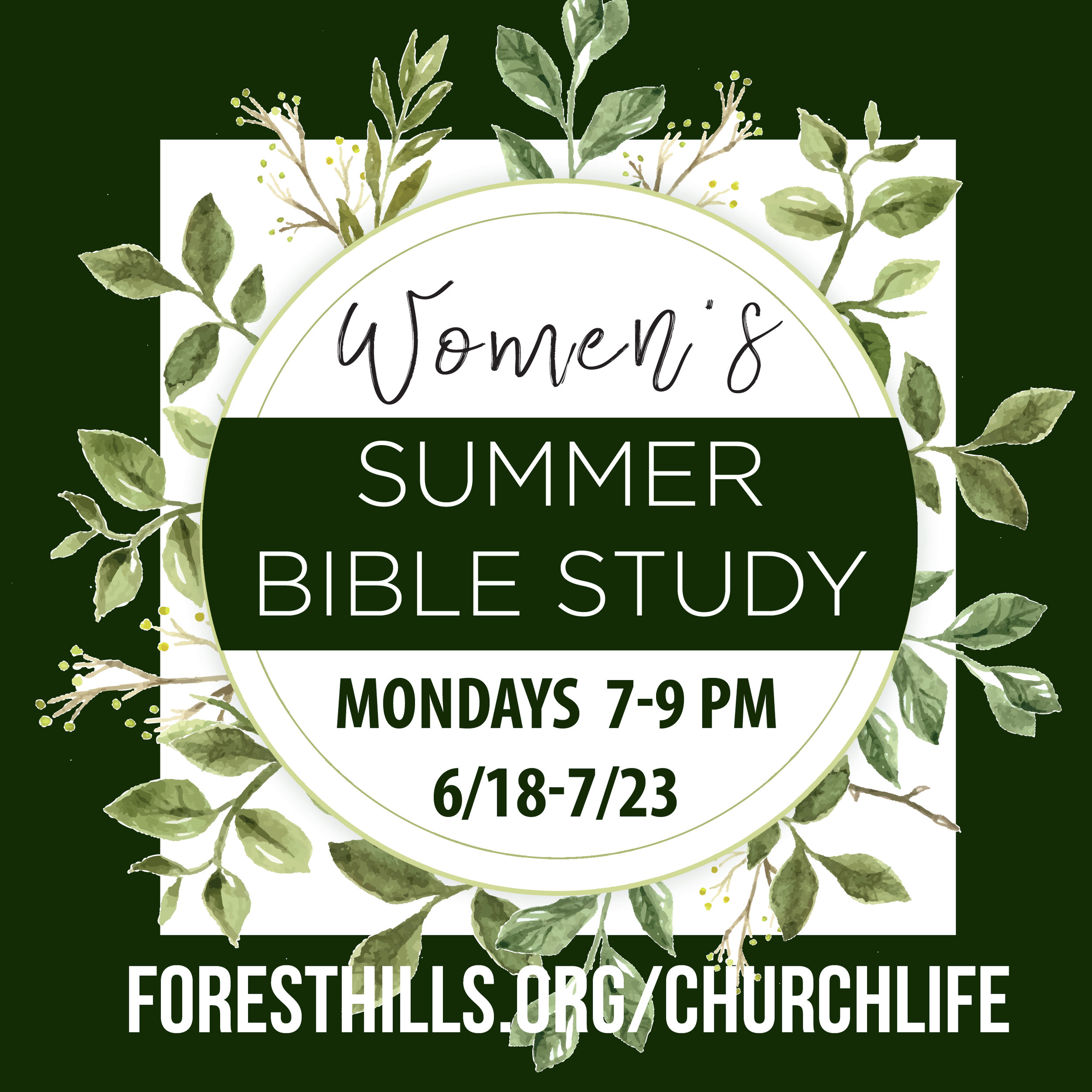 Interested in joining with other women for Bible study, fellowship and fun? The Women's Summer Bible Study will examine the book of Colossians and be reminded that Jesus is supreme! There's no better way to be encouraged than to be in the Scriptures and growing closer to Jesus. We'll meet from 7 – 9:00 pm on Mondays, from 6/18-7/23 (no meeting 7/4). Frances Overby is hosting and facilitating the study in her North Raleigh home. If interested visit  foresthills.org/churchlife.