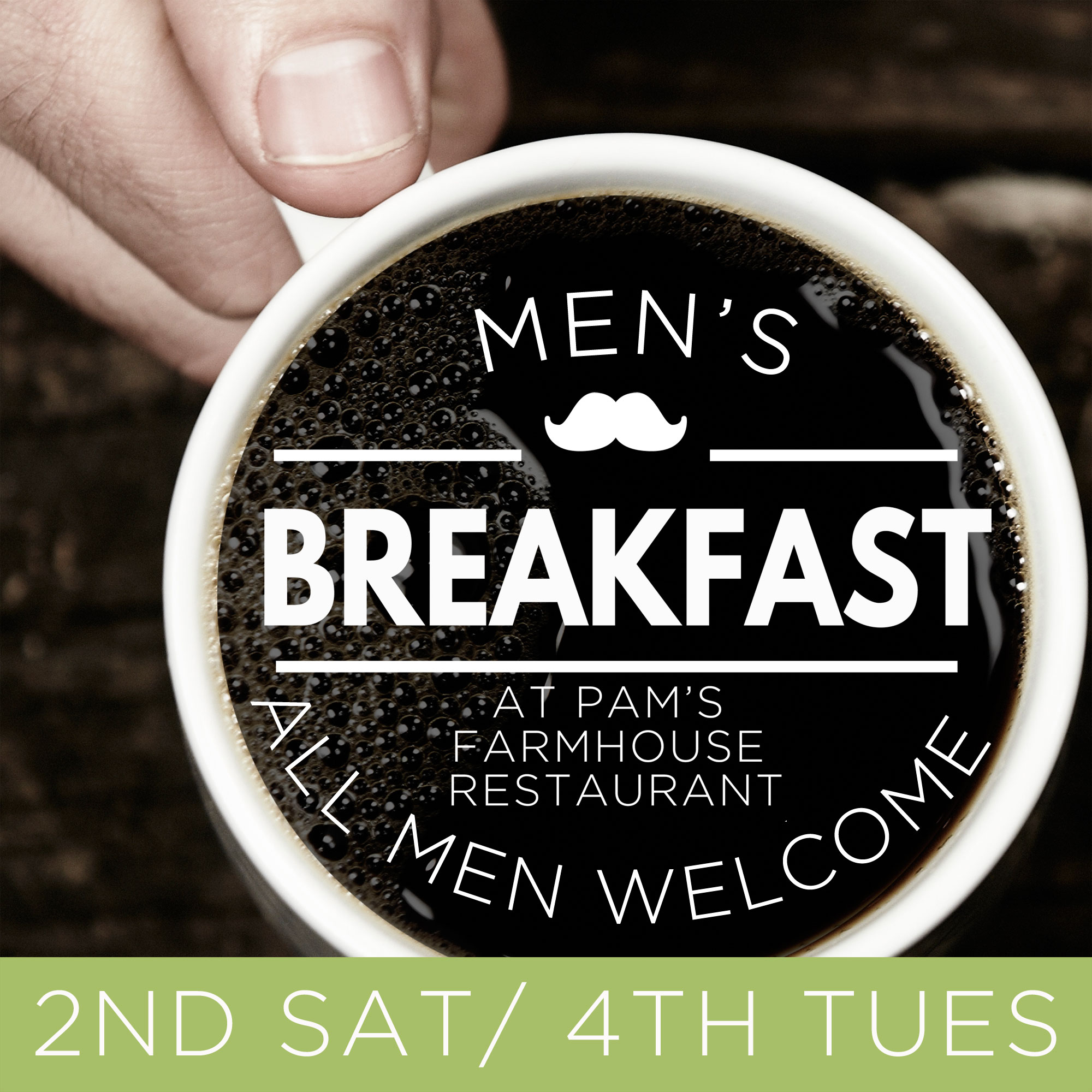 Men of all ages are invited to come together for a time of fellowship at Pam's Farmhouse each month throughout the summer. If you can make it during the week, feel free to join us on the 4th Tuesday of each month at 7:00 am. If you can make it during the weekend, feel free to join us on the 2nd Saturday of each month at 9:00 am. Or, if you've got the free time, you can come to BOTH!