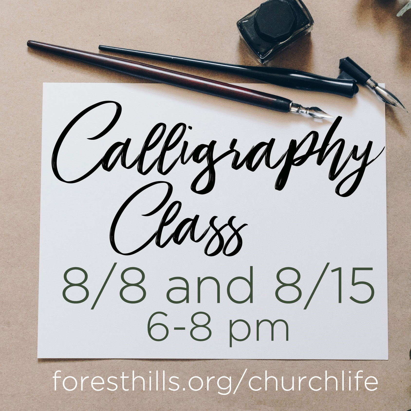 The Arts Ministry is sponsoring a two-session Calligraphy Class led by Harriet Davis on Wed, 8/8 and 8/15 from 6:00 - 8:00 pm in Shepherd's Studio. There is no charge and supplies are provided. Seating is limited; if you are interested in joining, register at  forestghills.org/churchlife .