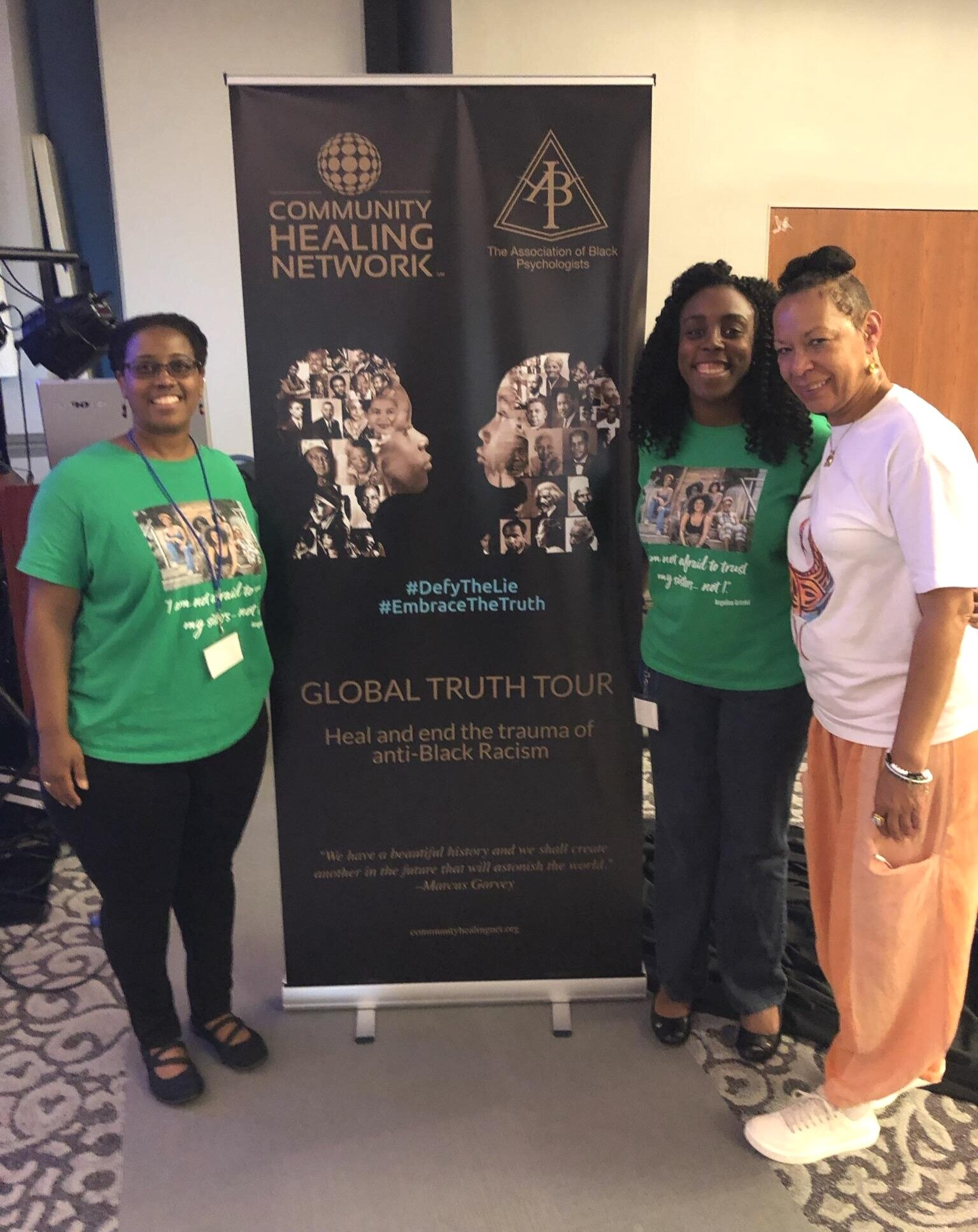 TWI counselors Shelly Wood, MSW, left, and Alyson Stewart, MFT, center, with Dr. Cheryl Grills, right, of the Association of Black Psychologists.