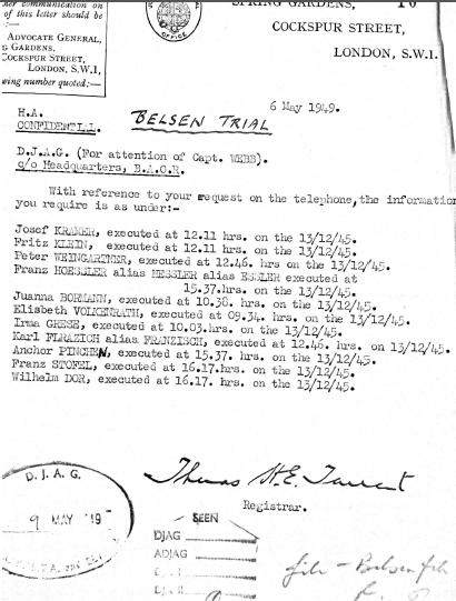 Hang times Belsen executions 13 December 1945