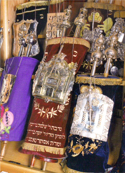 Alexander Torah with red cover in the Ark