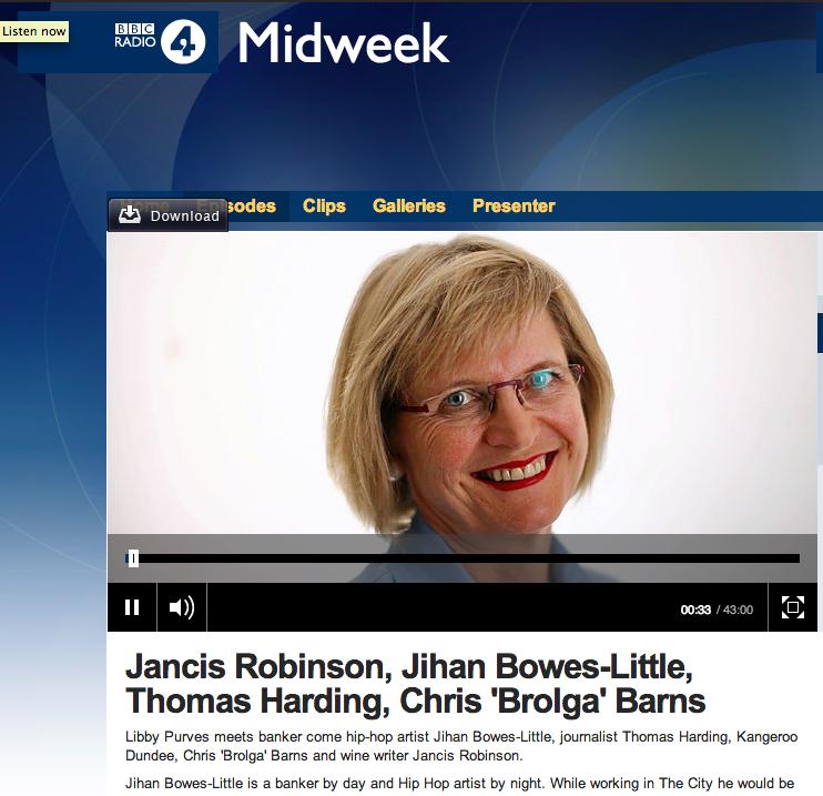 BBC Midweek 27 Nov 2013 (starts at 18 minutes)