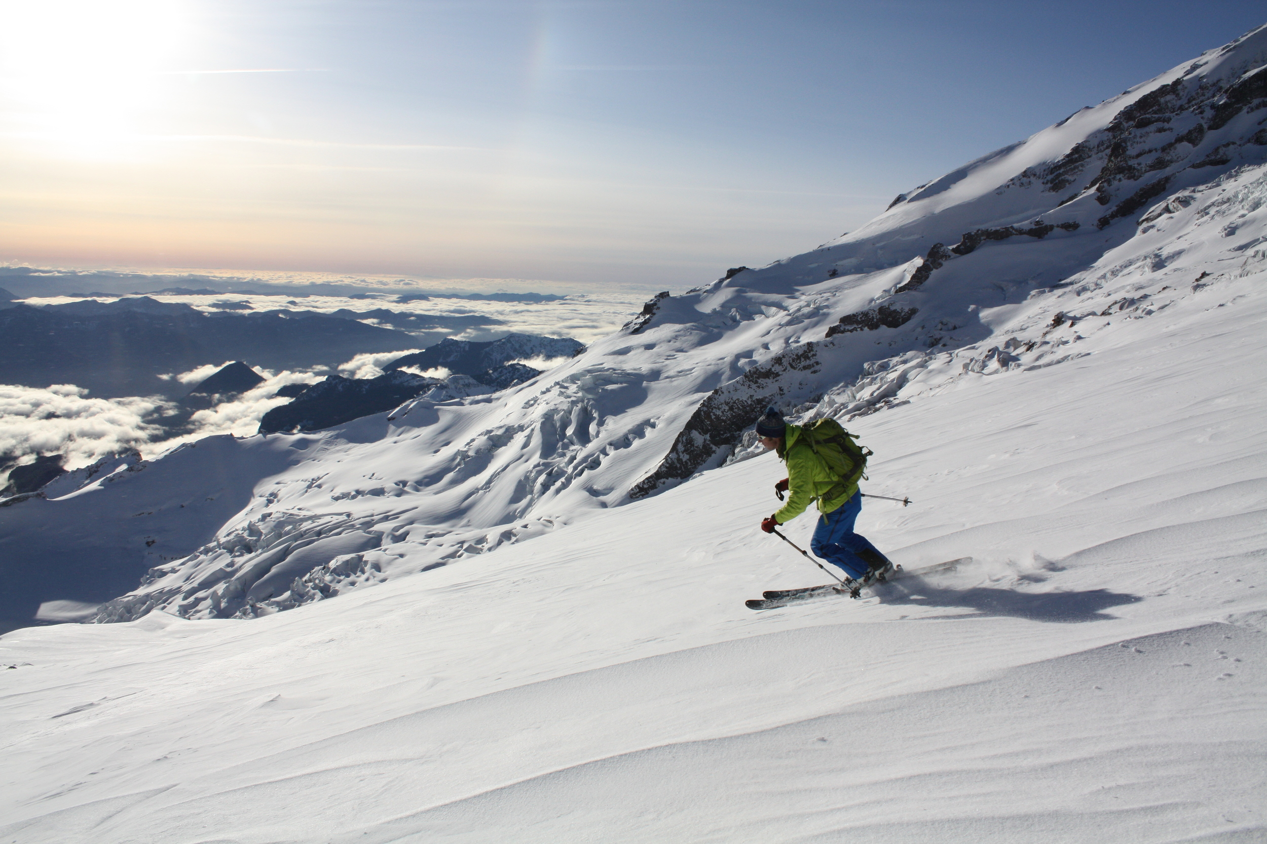 Forest McBrian skiing on the Muir snowfield.