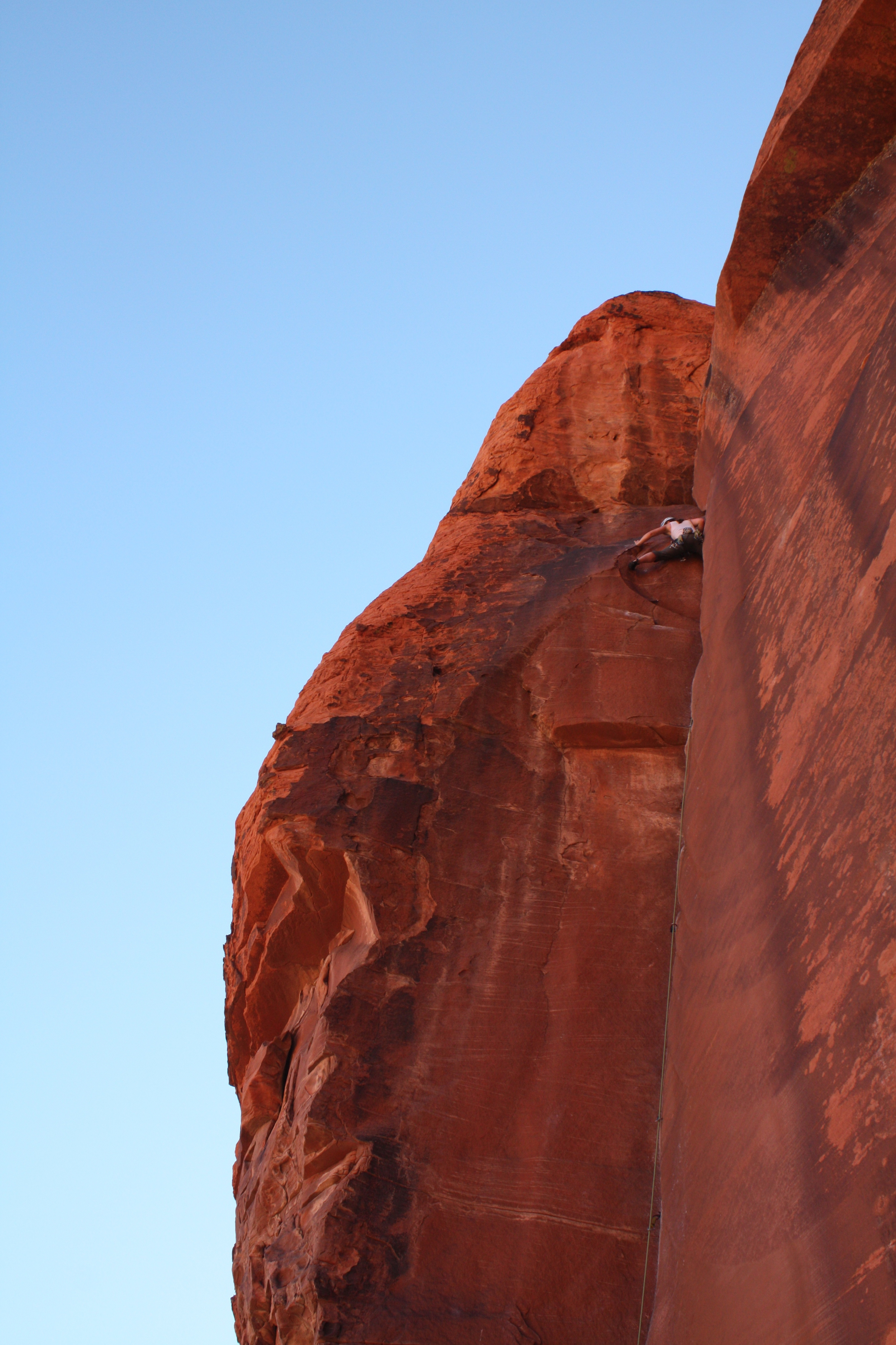 "Erin leading ""The Fox"" 5.10d in Red Rocks, fall 2013."