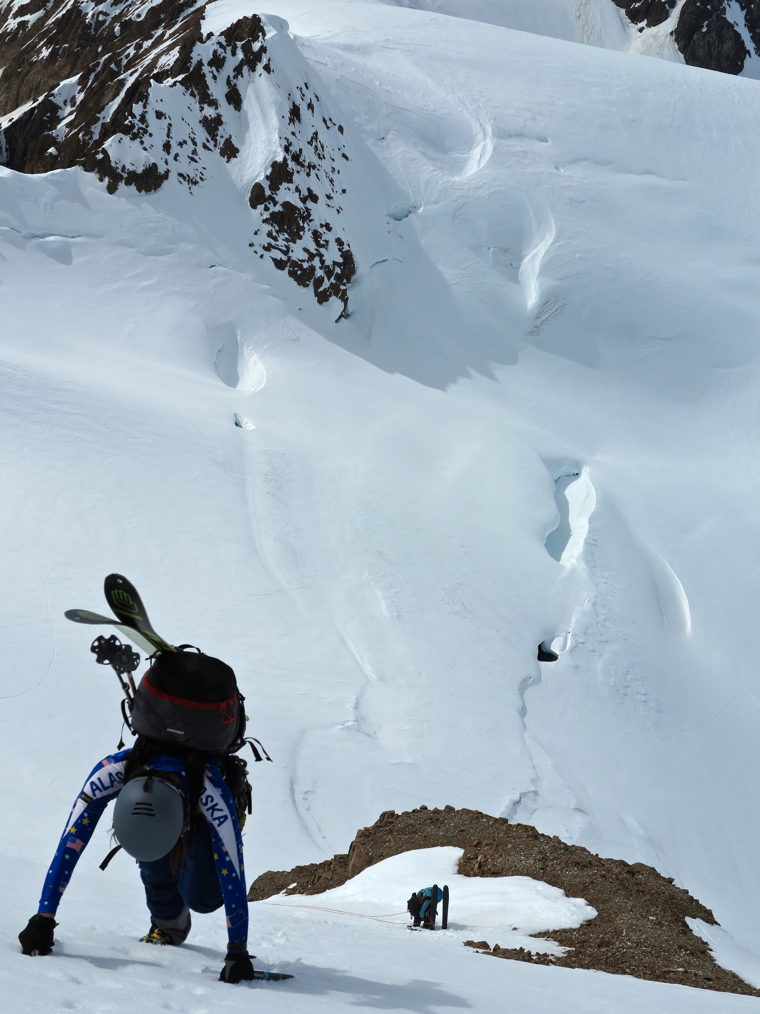 In view from our camp were endless lines. Skin, boot, ski, repeat.