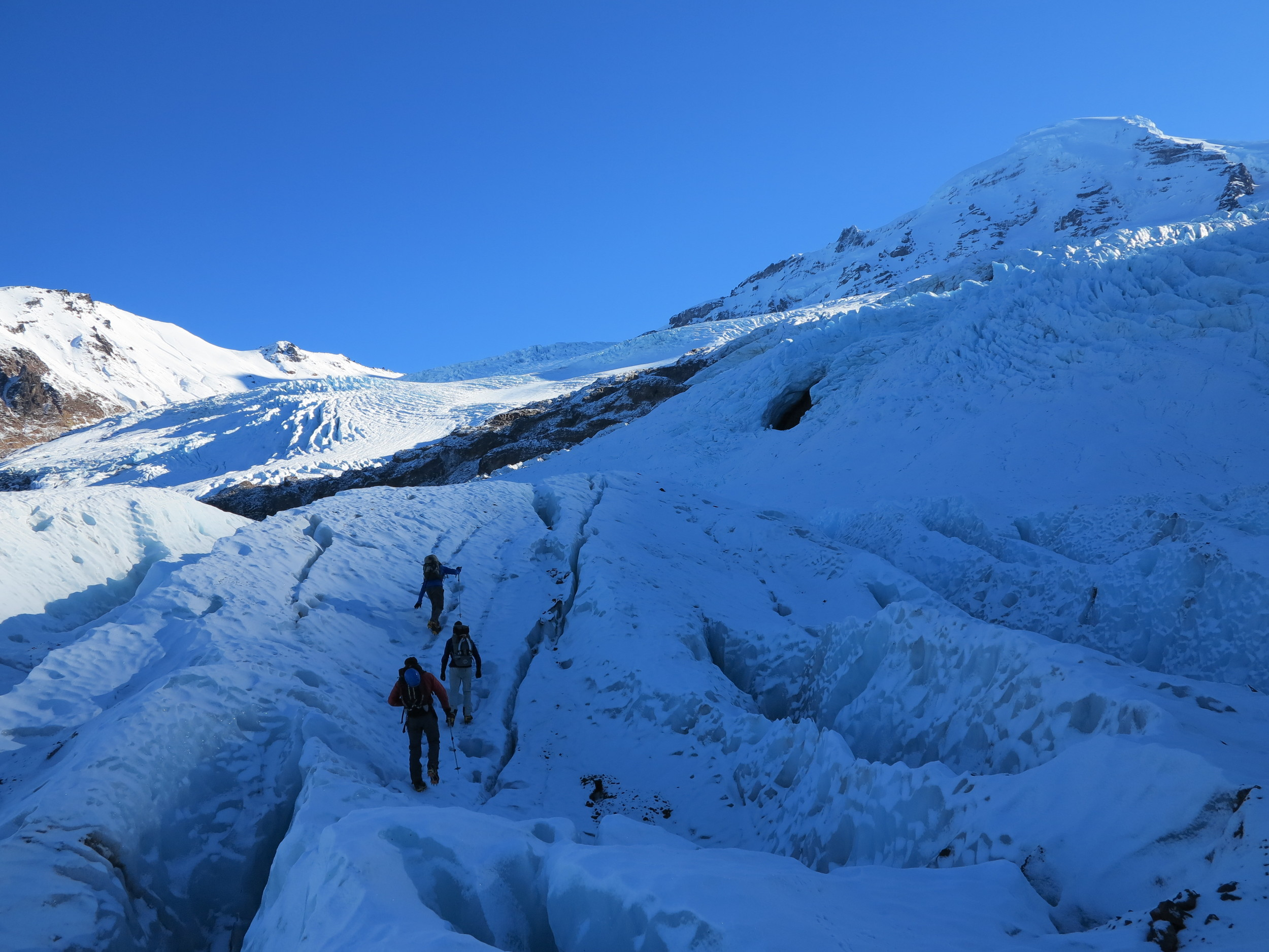 Approaching the seracs on the Lower Coleman Glacier on Mount Baker, WA. Photo: Erin Smart