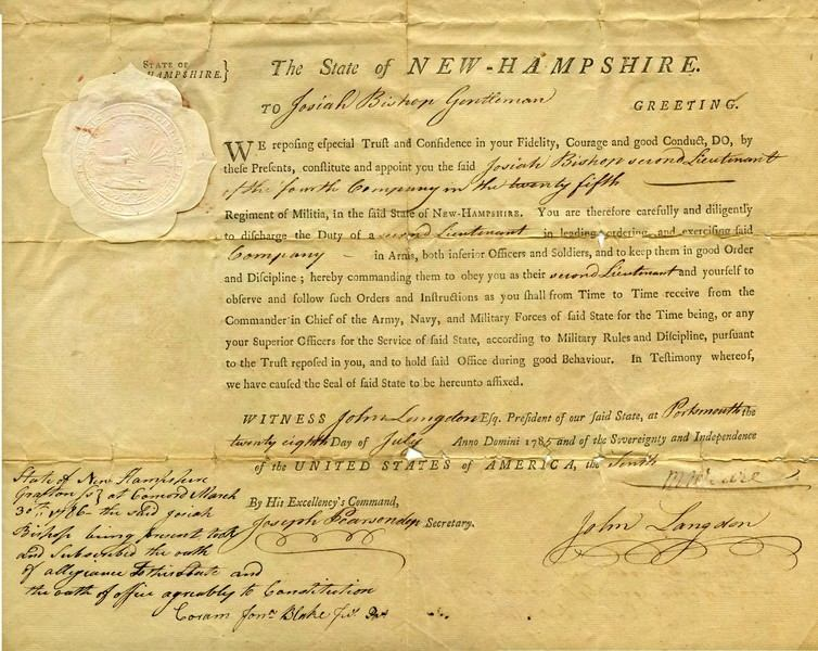 Josiah Bishop appointment to second lieutenant of the fourth company in the 25th regiment of militia in the State of N.H. signed by John Langdon, President of the State of N.H. at Portsmouth on July 25, 1785