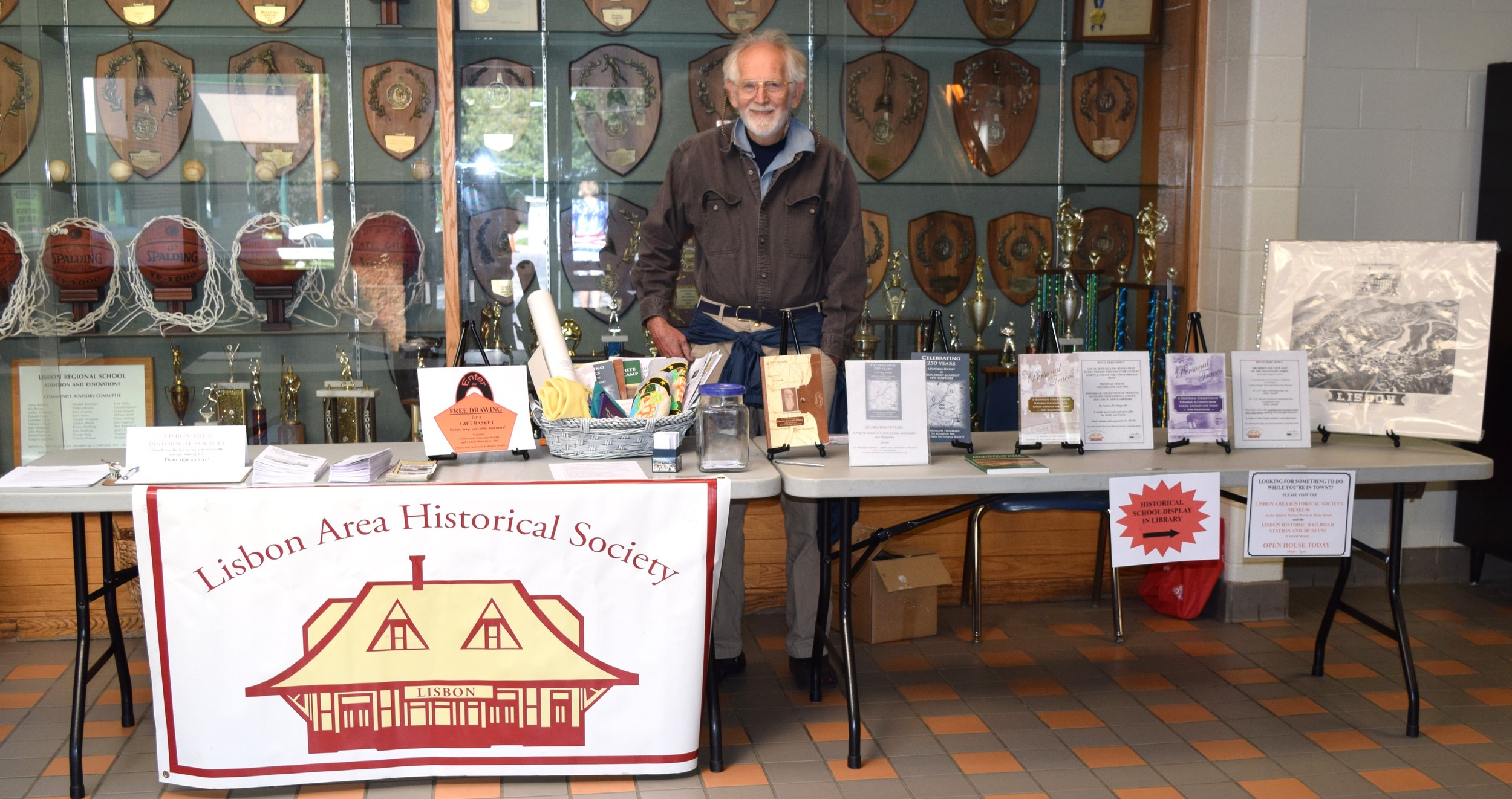 Society volunteers helped staff the table and library display at the school and the Open House at our museum in the Parker Block. It was a busy day!