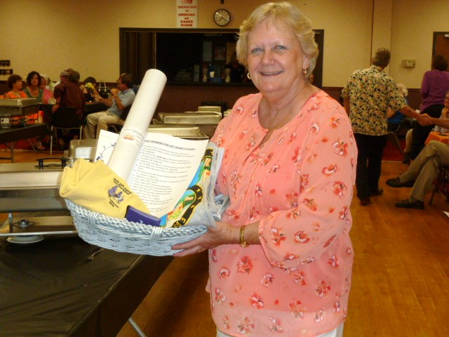 Look who won the gift basket!  Lisbon School alum, Shirley Bowen Whitcher.
