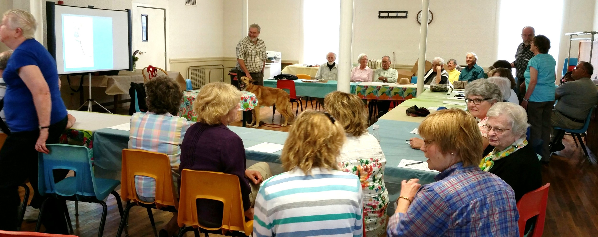"""A good crowd attended our """"Chinook"""" program at The Shared Ministry's White Church in Lisbon, and enjoyed """"Tug"""" and his black Lab cohort """"Fenway"""" (not pictured) while listening to NHHC presenter Bob Cottrell."""
