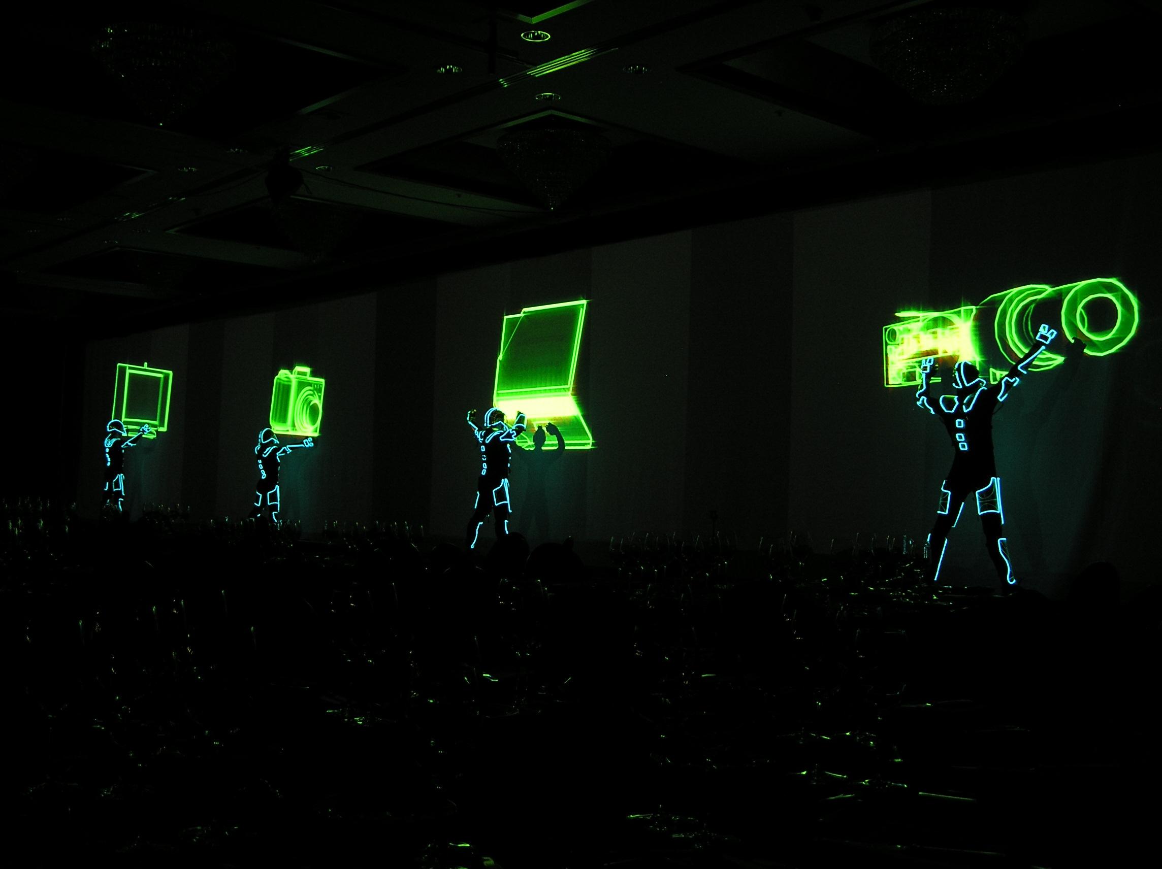 7 projectors tron assembly line