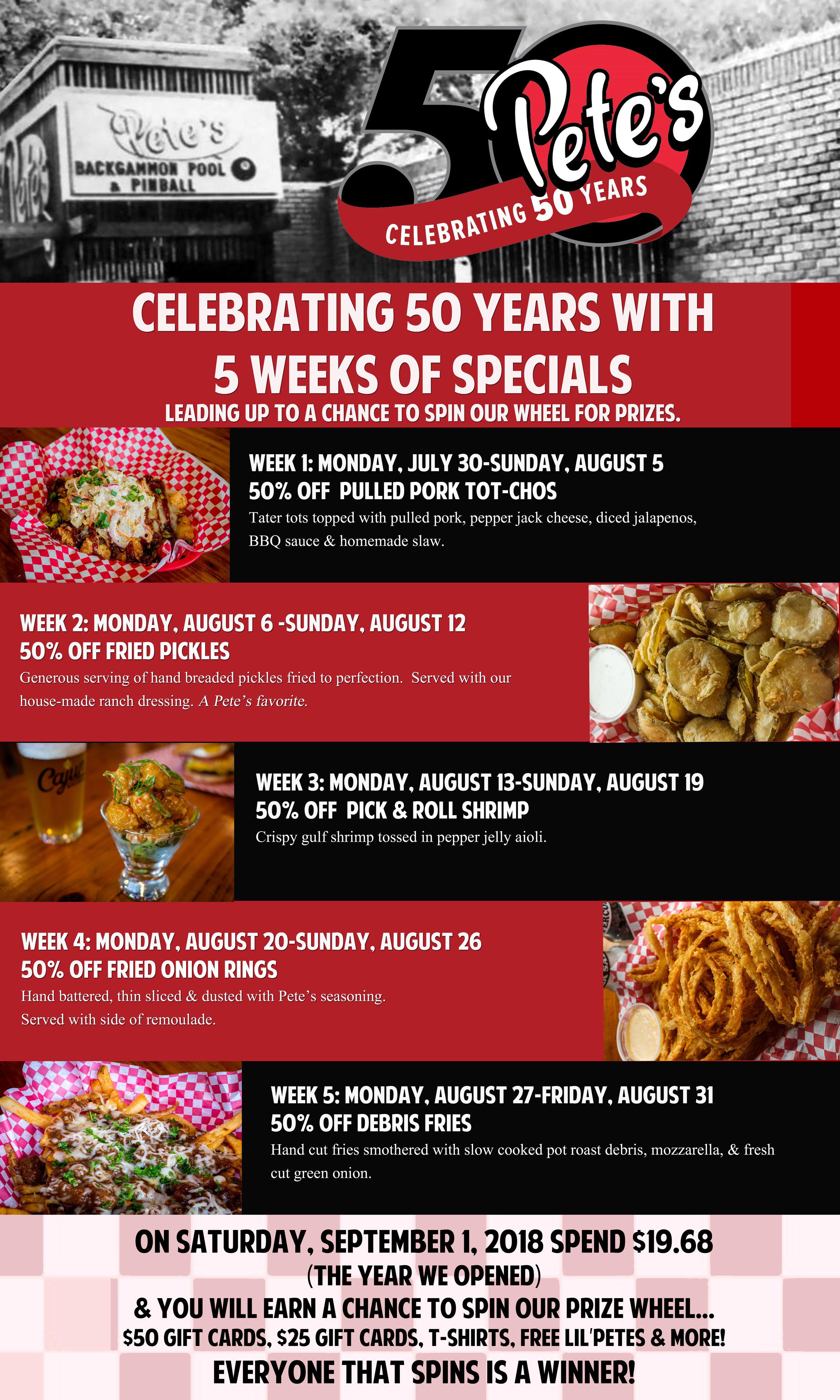 50th anniversary specials — Petes