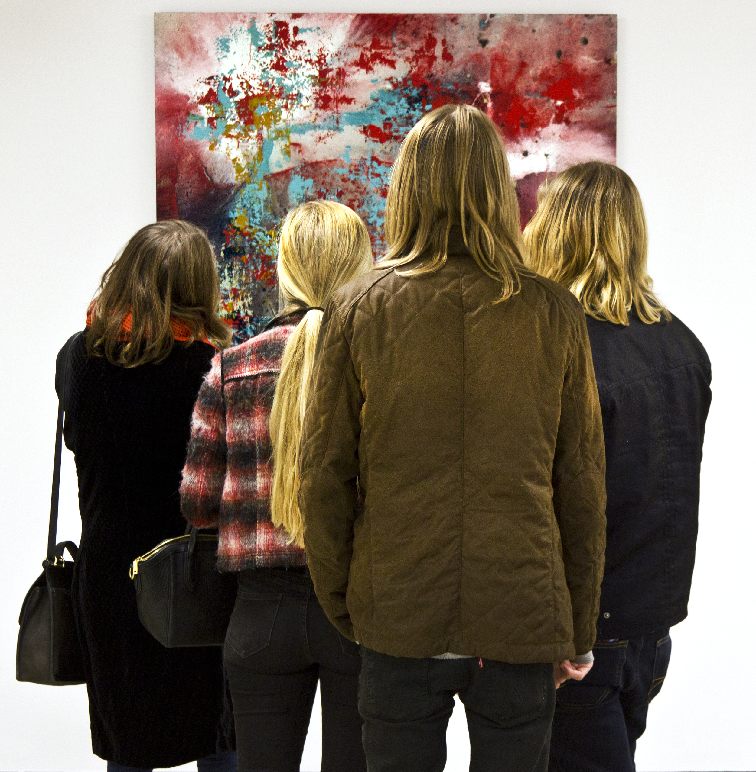 "A group of art lovers contemplating ""Untitled (2014)"""