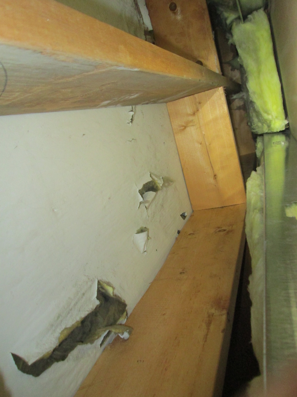 Looking up into exterior wall cavity. Large cavity with poor fiberglass. White 'bag and sag' is punctured in places.