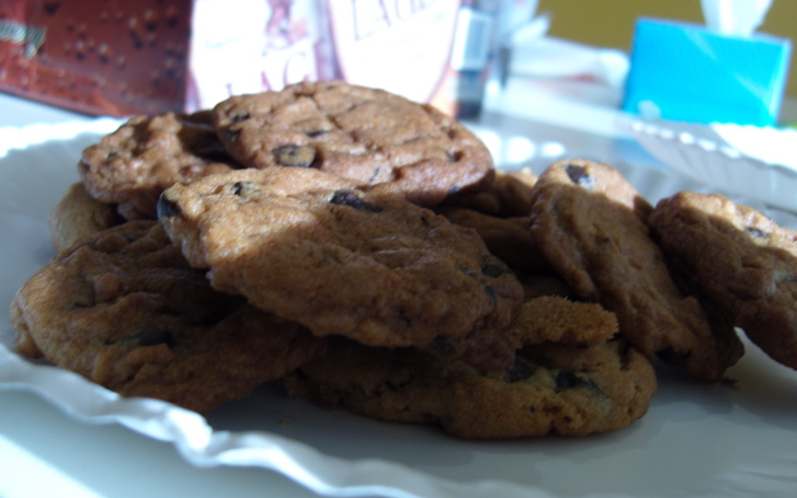 I baked cookies in our toaster oven. Next time, I'm going to line up a bunch of EZ Bake ovens and have a Bruise & Booze Bakeoff.