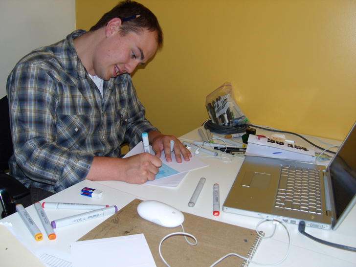 Every intern has to do a round of hand-drawn thank you cards. Giff at work.