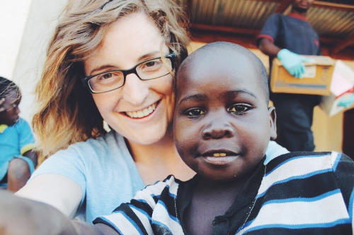 Lindsey and Joseph outside the clinic at the Grace Center in Malawi.