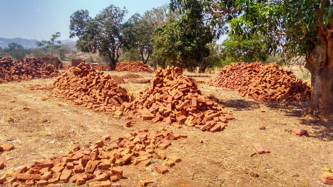 Bricks for the toilets and the tank stand.