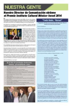 Lee la nota publicada en el Periódico Monte Sinai, en febrero 2014