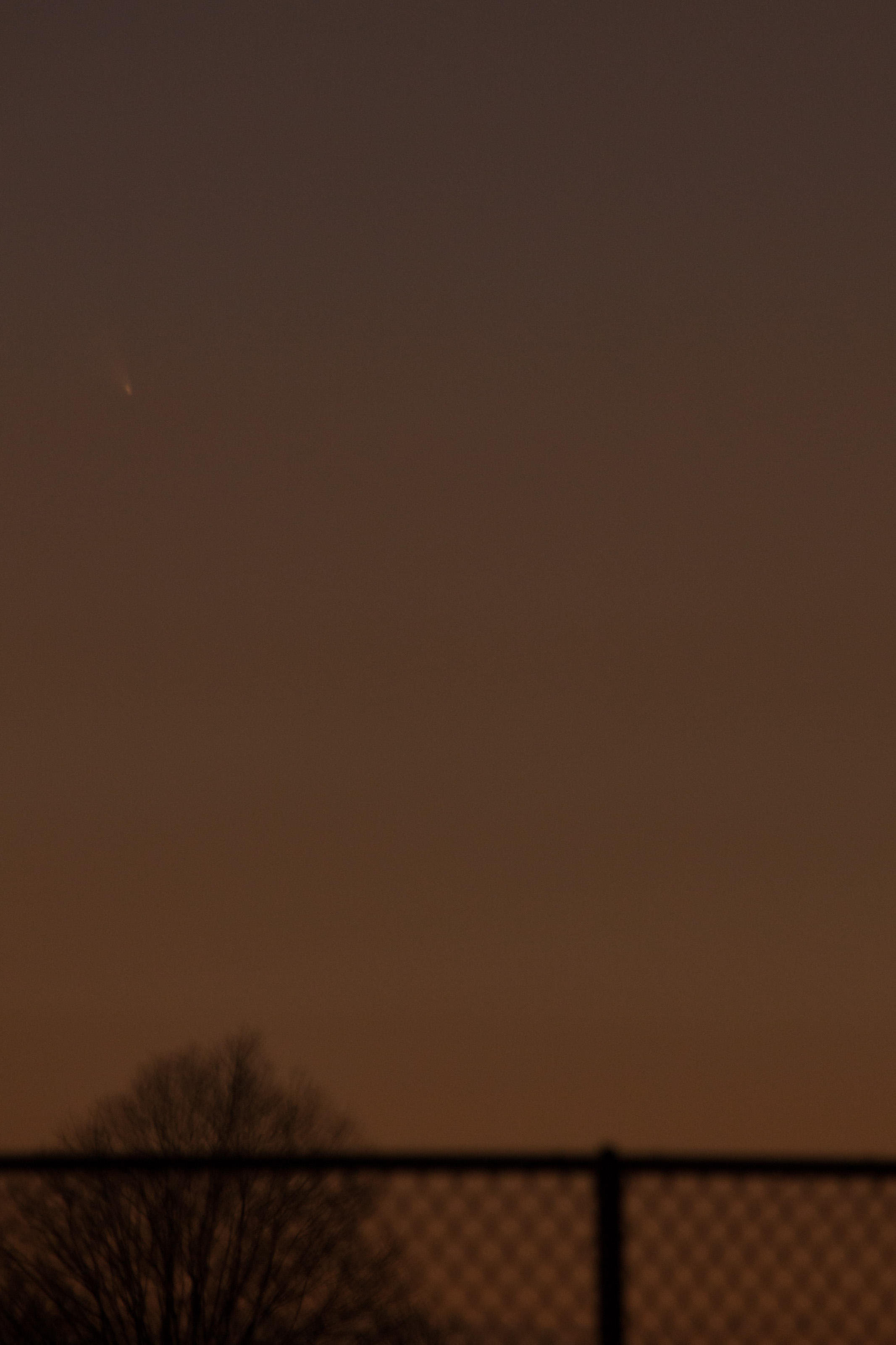 Comet PanSTARRS as seen on March 13th from Garden City, NY at around 7:45 PM