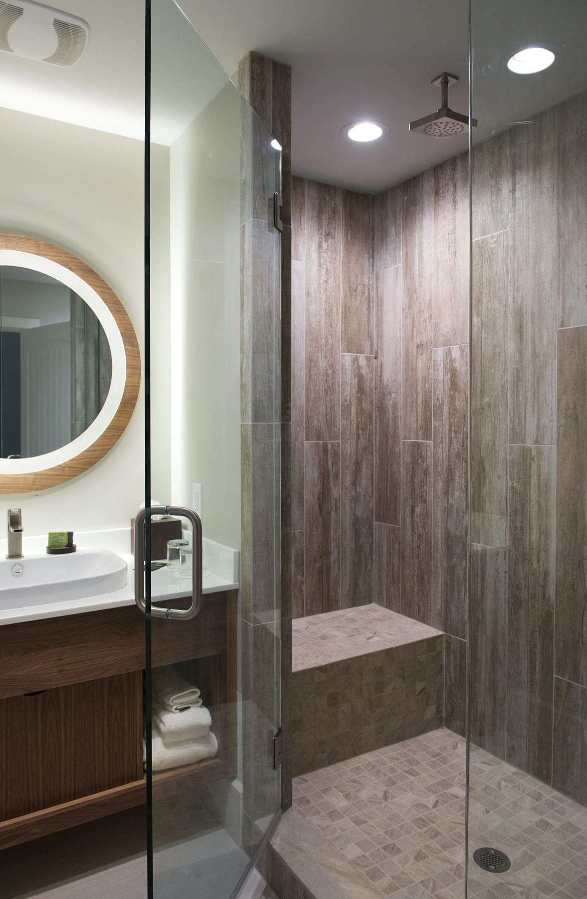 Master Bathroom at Margaritaville Island Hotel, in Pigeon Forge, TN, Designed by Design Poole, Inc in Winter Park Florida