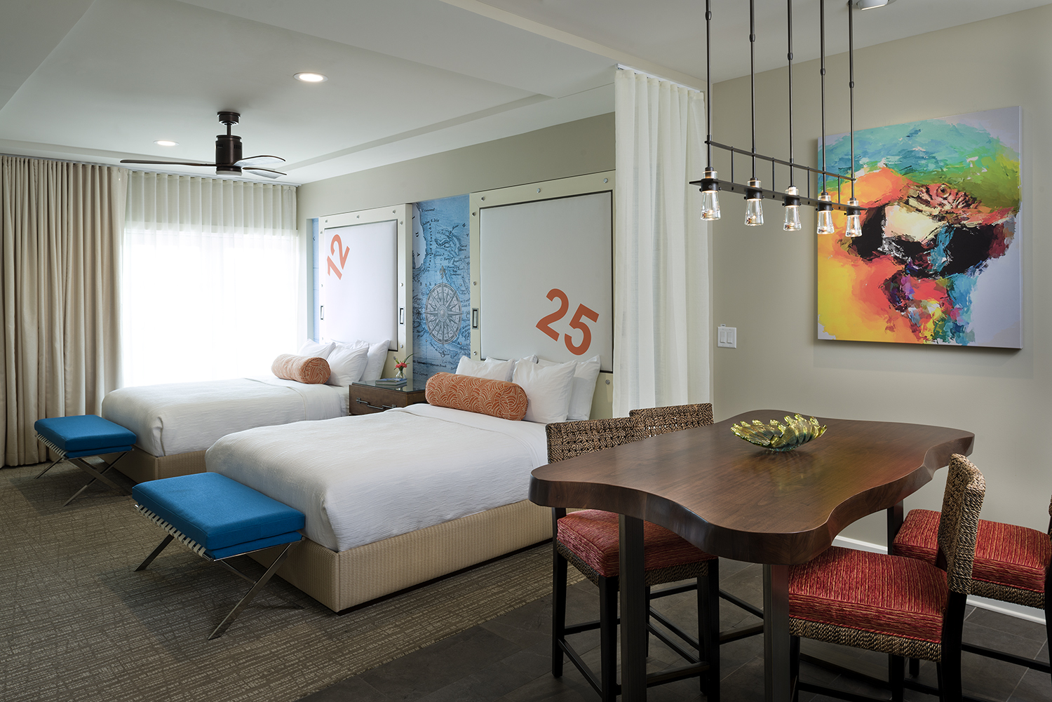 Master Suite at Margaritaville Island Hotel, in Pigeon Forge, TN, Designed by Design Poole, Inc in Winter Park Florida