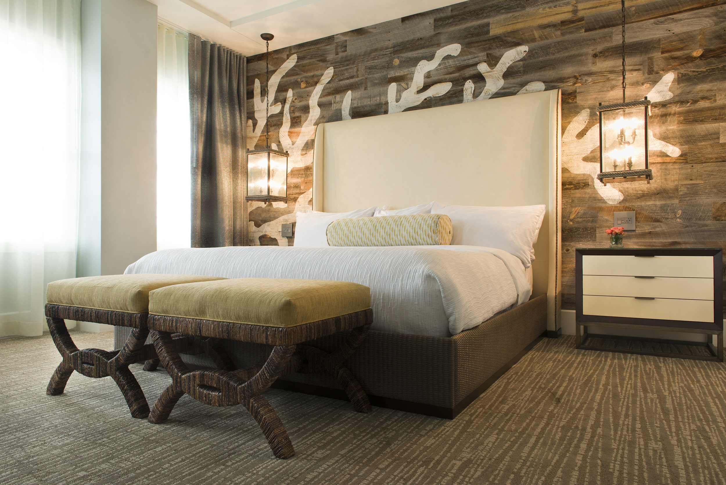 Master Guest Room at Margaritaville Island Hotel, in Pigeon Forge, TN, Designed by Design Poole, Inc in Winter Park Florida