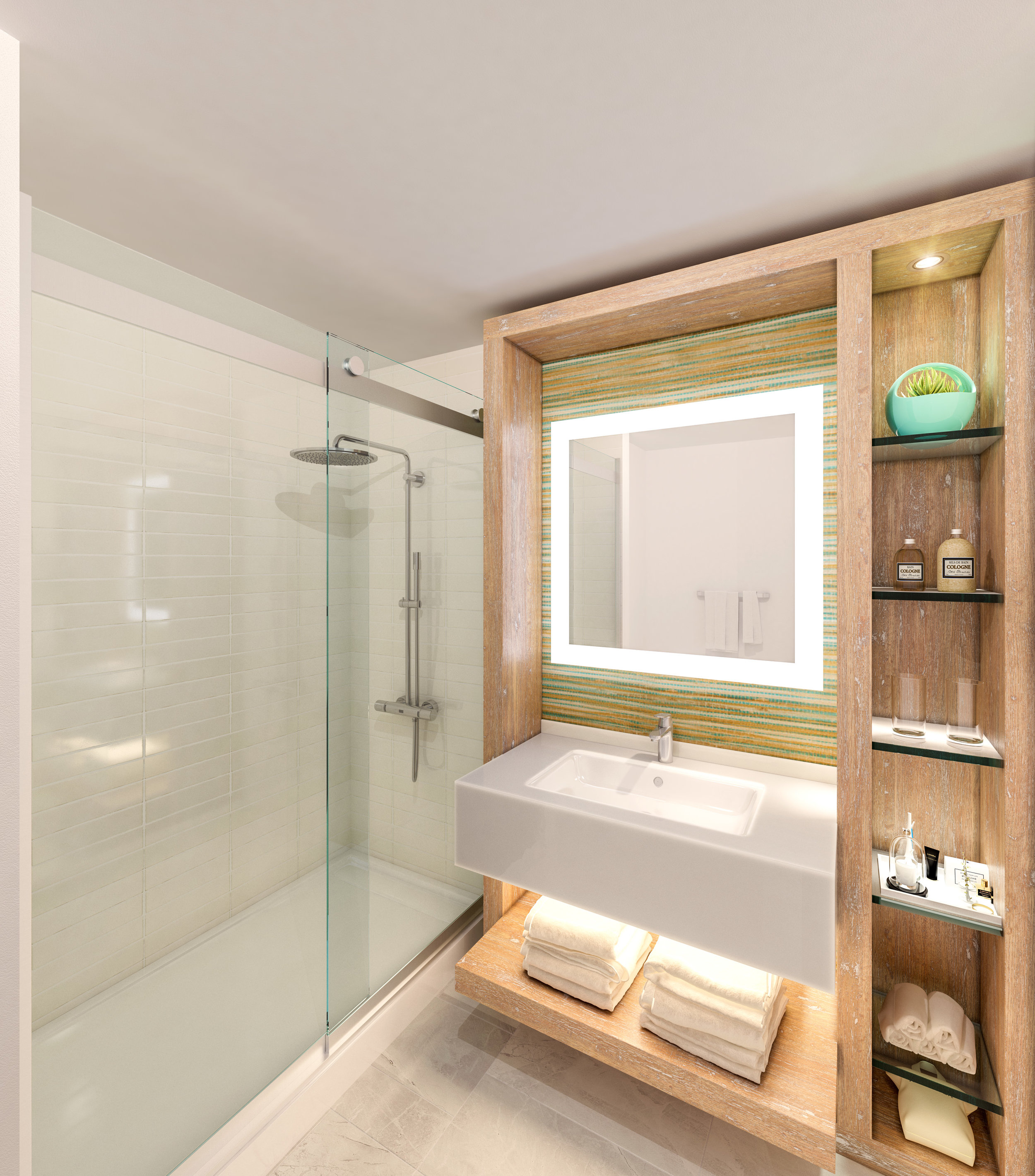 Bath Room at Delta Hotel Daytona Shores, in Daytona Beach, FL, Designed by Design Poole, Inc in Winter Park Florida